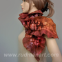 Felted Scarf wool silk felted hand dyed long scarf shawl by Rudman