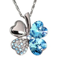 18k Gold Plated Swarovski Crystal Heart Shaped Four Leaf Clover Pendant Necklace - Aquamarine Blue