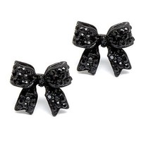 Fashion Crystal Pave Bow Ribbon Stud Earrings Black