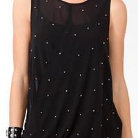 Sheer Studded Blouson Top