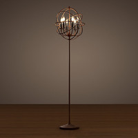Foucault's Iron Orb Floor Lamp Rustic Iron