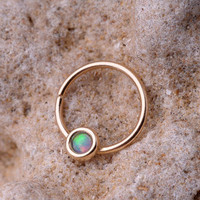 NOSE RING / EAR /Cartilage 14k gold filled with synthetic Opal. 19 gauge hoop - Handcrafted
