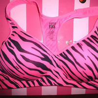 Victoria's Secret PINK Collection Hot Pink & Black Zebra Yoga Bra Push-Up Racerb