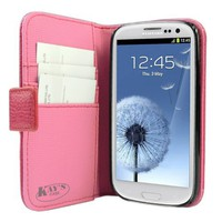 KaysCase Book Snap on Leather Cover Case for Samsung Galaxy S3 SIII, Hot Pink