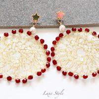 Dream catcher Earrings,Dangle Earrings, Gold vermeil Earrings, Red White Crochet Jewelry, Large hoop earrings, One of a kind Luxe Style