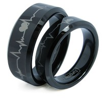 Matching Black Comfort Fit Tungsten Carbide Rings with Laser Forever Love Design 8mm (Size 5 -16) H