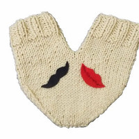One mitten for two hearts, knitting lover glove for him and her, with lip and mustache appliques, valentines day
