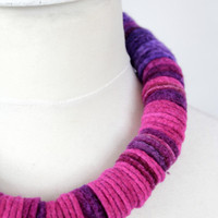 REDUCED felted necklace designer fashion jewellery handmade felted scarf beads