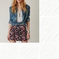 Free People Large Vintage Floral Scrunch Skirt at Free People Clothing Boutique