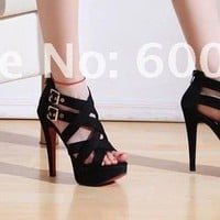 High Heel Platform Double Buckled Woman Sandals