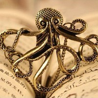 Vintage Bronze Octopus Long Chain Necklace at gofavor.com