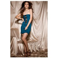 Strapless Sexy Elastic Cotton Women's Sleeveless Dresses (Blue) China Wholesale - Sammydress.com