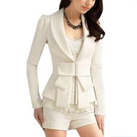 Allegra K Ladies Shawl Collar Long Sleeve Hook Closure Blazer Jacket White S