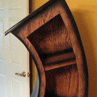 FREE SHIPPING Plus Free Melting Clock,Handmade 6ft Curved Bookshelf Oak Stained/Blk