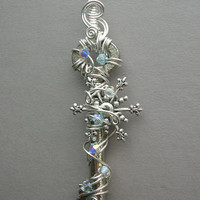 Winter Snowflake Key Pendant Wire Wrapped by silverowlcreations