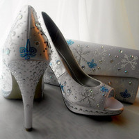 Wedding Shoes and purse painted snowflakes Fleur de by norakaren