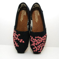 Cherry Blossom Black Size 6.5- CUSTOM TOMS SHOES