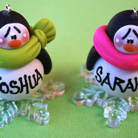 Personalized Penguin on Snowflake Clay Christmas by Sabrinaps