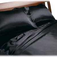 Divatex Home Fashions Royal Opulence Satin Queen Sheet Set, Black