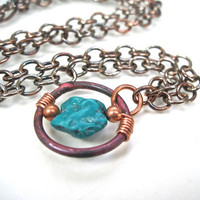 Turquoise Copper Pendant Necklace Wire Wrapped Stone Antiqued Cable Chain