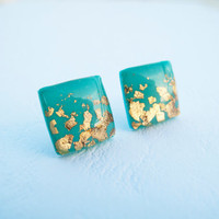 Tiffany Gold Square Stud Earrings - Polymer Clay and Resin Jewelry