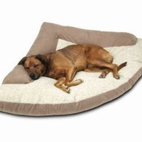 "Amazon.com: Corner Dog Bed with Bolster XXL 44"" x 64"" x 44"" Khaki: Pet Supplies"