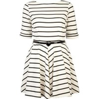 cream stripe skater dress  - day dresses - dresses - women - River Island