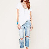 NSF Womens Oil Stained Destroyed Boyfriend Jean -