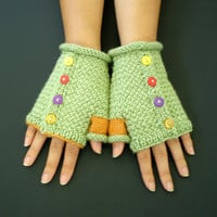 Hand Knit Fingerless Gloves Carnival by ohmay on Etsy