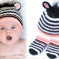 Zebra Cub Hat and Mittens set READY to SHIP by IraRott on Etsy