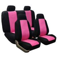FH-FB105-1114 Classic Suede Car Seat Covers, Airbag Compatible and Split Bench Pink / Black