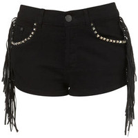 MOTO Fringe Stud Hotpants - Shorts  - Clothing