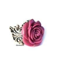 FREE SHIPPING. Pink Rose Ring. Cocktail Ring. Tea Rose Ring. Adjustable. Magenta Flower Ring. Valentine&#x27;s Day