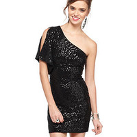 B Darlin Juniors Dress, Short Split Sleeve One Shoulder Sequin Mini - - Macy's