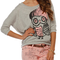 Papaya Clothing Online :: OWL PRINT DOLMAN SLEEVE TOP