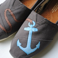 Custom Hand Painted TOMS Anchor Design shoes on Ash Gray Canvas