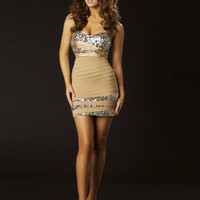 Nude Rhinestone Embellished Strapless Bandage Homecoming Dress - Unique Vintage - Cocktail, Pinup, Holiday & Prom Dresses.