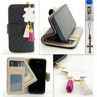 IP5 Black Qulited Leather Stand Case Card Holder Wallet + Bear Fringed Dust Plug Charm for for Apple Iphone 5 Ship From Hong Kong