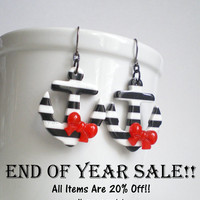 END OF YEAR Sale Anchor Earrings. Black and White. Red Bows. Nautical Jewelry. Sailor Girl Costume Accessory. Pin Up Earrings.