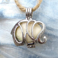 Silver Elephant  Beach Stone Locket Pendant Necklace Ivory White Silver
