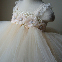 Flower girl dress Champagne and ivory tutu dress, baby tutu dress, toddler tutu dress, wedding, birthday, Newborn, 2t,3t,4t,5t