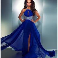 Mac Duggal Prom 2013 - Electric Blue High Neck Chiffon Dress - Unique Vintage - Cocktail, Pinup, Holiday &amp; Prom Dresses.