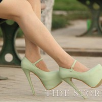 Fashion Green PU Upper Stiletto Heels Closed-toe Prom/Evening Shoes: tidestore.com