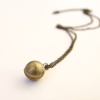 Vintage Aged Brass Ball Locket Neck.. on Luulla