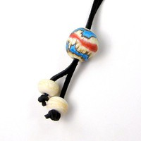 Multi Use Leather Belt Purse Key Saddle Backpack Lampwork Glass Charm
