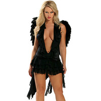 Attractive Sexy Beauty Black Lycra Grenadine With Wings And Thong Angle Costume [TML0856] - $35.00 : Zentai, Sexy Lingerie, Zentai Suit, Chemise