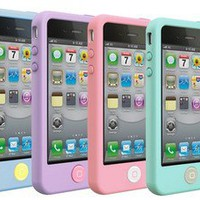 Multi Colors Soft Silicone Case Gloss Coated Home Button Easy For iPhone 4 4S