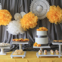 Wedding Dessert Bar Set - 6 piece cake stand set, painted wood cake stand set