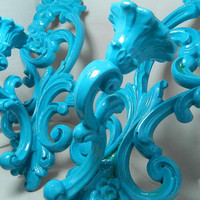 Vintage Teal Ornate Wall Sconce Candle Holders Set by OrWaDesigns