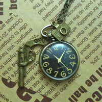 Steampunk Pocket Watch necklace with antique by Victorianstudio